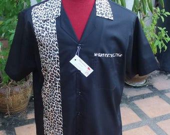 Men's Rockabilly Vintage 1950's Style Retro Bowling Shirt Black Leopard Trim