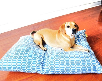 Dog Bed Cover-Blue Dog Bed-Small Dog Bed-Medium Dog Bed-Designer Dog Bed- Dog Bedding-Dog Bed Pillow-Floor Pillow-Dog Bed Print