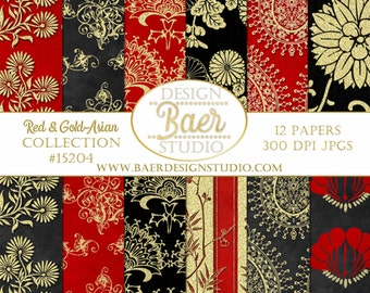 DIGITAL PAPER FLORAL:Asian Digital Paper, Red and Gold Foil Digital Paper, Chinese New Year Digital Paper, Asian Wedding Paper, #15204