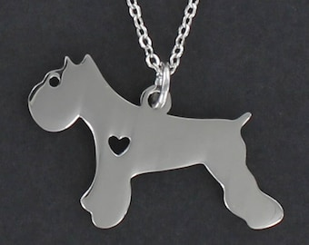 Schnauzer Dog Silhouette Necklace - Tiny Heart Cutout  Large Stainless Charm on a FREE Plated Chain