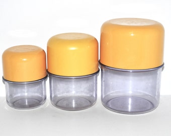 Erik Kold Mod Plastic Kitchen Canisters- Yellow Lids