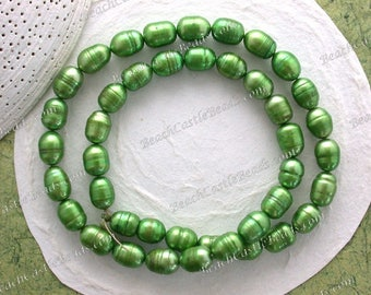 Sale Beads, Destash Beads, 9 to 10mm Bright Tree Green Fresh Water Pearl Beads, Rice Shape Fresh Water Pearls, Destash Supplies DS-816
