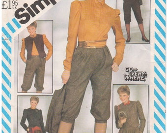 1982 - Simplicity 5619 Vintage Sewing Pattern Size 12 Bust 34 Knickers Circle Skirt Blouse Button Down Unlined Fitted Jacket Vest