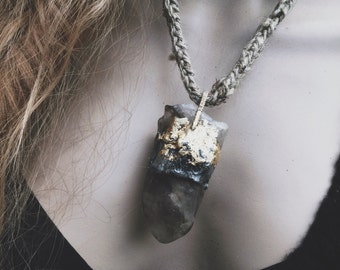 Rustic raw smoky quartz pendant necklace | large stone, smoky quartz, rustic organic, large crystal