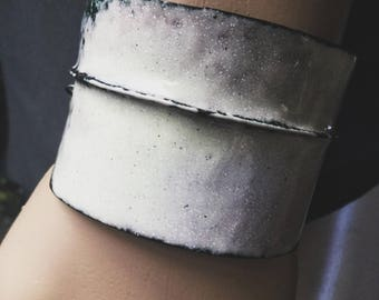 Cream enamel bracelet cuff with freshwater pearls and moonstone | rustic jewelry, distressed surface, white cuff, artisan metalwork