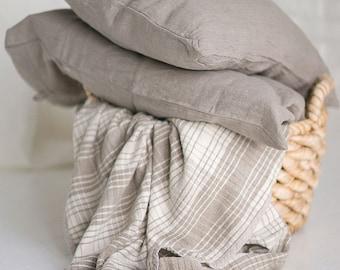 "Pair of Linen Pillowcases Shams Natural Gray Grey Flax 20""x30"" Handmade Eco"