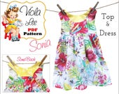 Sewing Patterns. Girls Dresses. Top Pattern. Girl's Dress Pattern pdf. Girl's Top Pattern. Toddler Dress Pattern.  PDF Sewing Pattern. Sonia