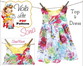 Sewing Patterns. Girls Dresses. Top Pattern. Girl's Dress Pattern pdf. Girl's Top Pattern. Toddler Dress Pattern.  PDF Sewing Pattern. Sonia
