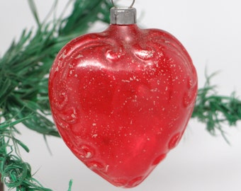 Antique 1940's Heart Shaped Embossed Glass Christmas Tree Ornament, Vintage Red
