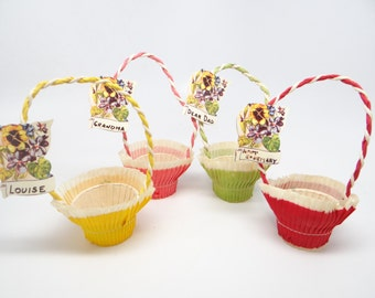 Vintage Easter Basket Candy Container, Pansy Place Cards, Party Favor