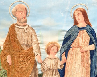 1800's Holy Family French Embroidery and Painting,   Mary, Joseph and Jesus Christ, Nun's Work