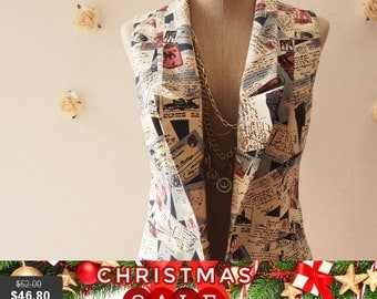 Christmas SALE Women Vest Love Journey in Navy Blazer Voyage and Letter Chic Collar Vest  : Play Blazer or semi formal style - Size S-M