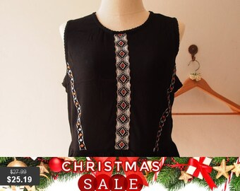 Christmas SALE Black Boho Blouse Sleeveless Bohemian Hippie Top Blouse (Free Size US8-US10)
