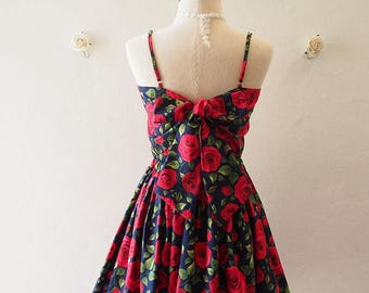 Clearance SALE Crop Top and Skirt Set Navy with Red Rose Beauty and The Beast Rose Summer Matching Crop Top and skirt Set -S-M (US4-US6)