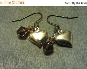 ON SALE at Etsy Price Slash Was 5.00 now 3.70,Valentine Brass heart and crystal earrings. Great Gift Idea,