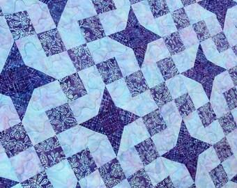 Stardust, King / Queen Batik Patchwork Quilt, by PingWynny Blue & Purple
