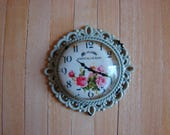 Dollhouse Miniature Shabby Chic Celery Green Round Metal Wall Clock with Pink Roses Motif