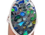 Beautiful and Unusual Ethiopian Opal in Pyrite Oval Ring Solid 925 Silver Jewelry Size 7.5  SALE!