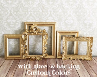 Gold PICTURE FRAMES - vintage style - Hollywood Regency wedding - home photo display reception sign
