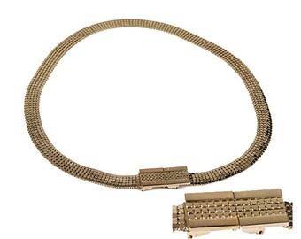 Gold Mesh Belt, Whiting & Davis, Modernist Buckle, Adjustable, Vintage 1970s