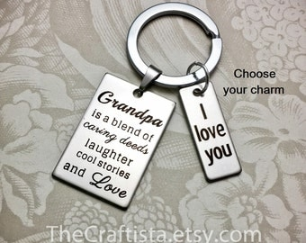 GK2, Grandpa Keychain, 3 Charms, Gift for Grandpa, Grandpa Gifts, Gift Ideas for Grandpa, Papaw Keychain, Grandpa Gift, Grandfather Gifts