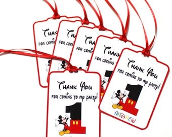 Set of 12 Thank You Party Favor Tags,  Mickey Mouse Personalized Happy Birthday Party Favors Thank You, Mickey Mouse Party Supplies