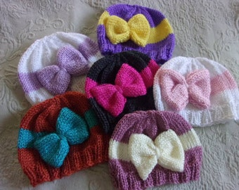 Hand Knit Baby hat with large bow - many colors - you choose!