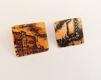 Salford Quays Manchester Etched Copper & Sterling Silver Rectangle Urban Landscape Earrings
