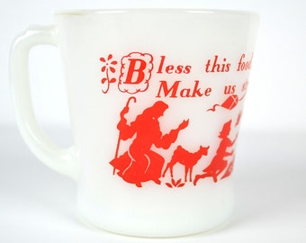 Vintage Fire King Prayer Mug, Red on White Milk Glass, Bless this Food O Lord we pray, D Handle Coffee Cup