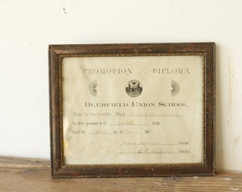 Rustic Antique Wooden Framed School Promotion Diploma 1908 with Glass Deerfield Union School Wall Hanging