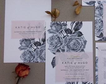 BLUSH ROSE | Rustic Wedding Invitations, Wedding Invites, Wedding Invite, Blush and Rose Wedding Invitation Rustic - Sample Set