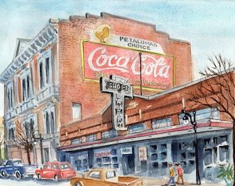 Digital download only-Watercolor, view of Kentucky Street in Petaluma, CA
