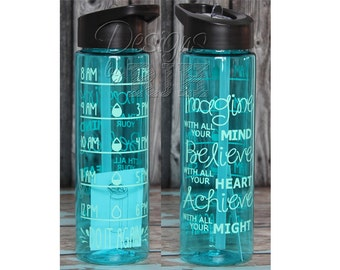 Inspirational Personalized 24oz Summit Tritan Sports Water Bottle with Hourly Reminder Times