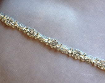 Thin Crystal Bridal Belt-MADE TO ORDER