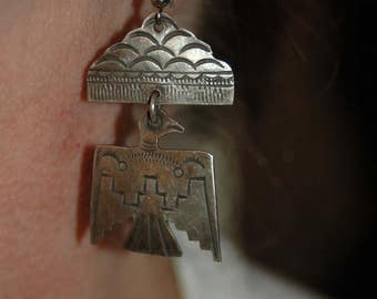 Sweet Navajo Fred Harvey Era Sterling Stamped Thunderbird Dangle Earrings