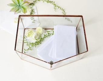 "Wedding Display Box 9"" x 7"" x 3"" Wedding Card Box, Envelope Holder, Glass Box, Gift For Her, Jewelry Box, Display Box by jacquiesummer"