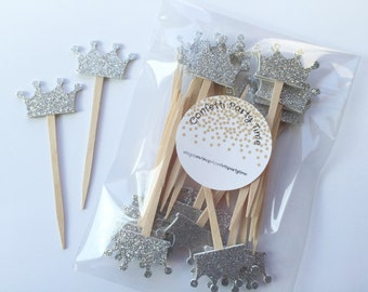 24 Tiara Cupcake Toppers   Crown Cupcake Toppers   Glitter   1 1/2 inches