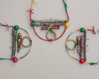 Unique colorful necklace, twig necklace, wooden necklace, wooden jewelry, nature jewelry, OOAK