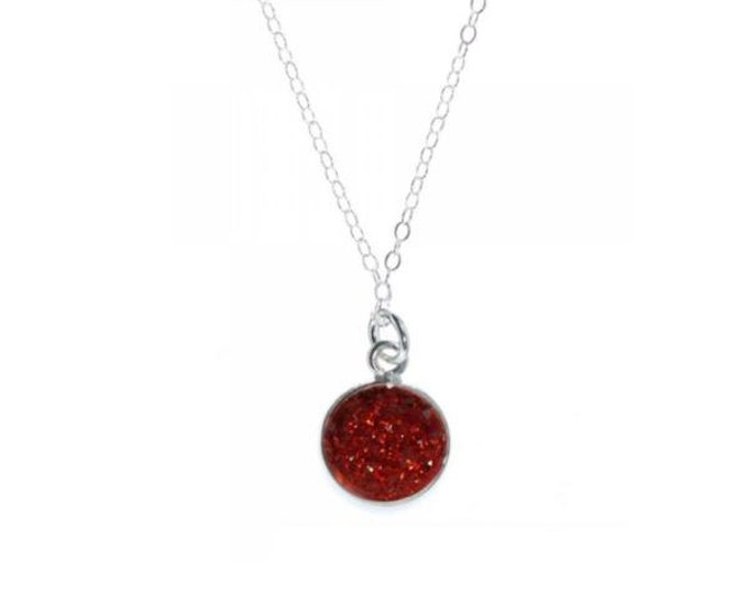 12mm Red Crystal Druzy Necklace