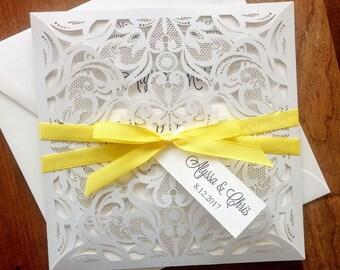 White Laser Cut Wedding Invitations. Pocket Style Wedding Invitation. White Wedding. Yellow and White Lasercut. Yellow Wedding.