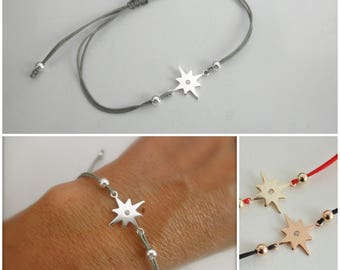 CZ northern star bracelet - north star cord bracelet - cz sterling silver star bracelet - adjustable cz bracelet - star cord bracelet