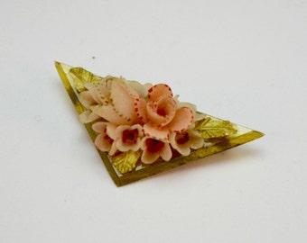 1950s Lucite Resin Flower Brooch