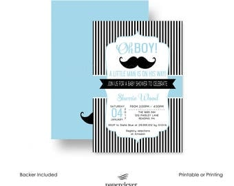 Mod Mustache Baby Shower Invitation for Boys Black Striped & Blue Little Man Dapper Party Invite Printable or Printing Customize