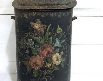 Antique Coal Scuttle Bucket Victorian Painted