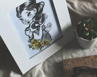 Prinzessin, Blumen gelb 5 x 7 Print-at-Home-Kunst
