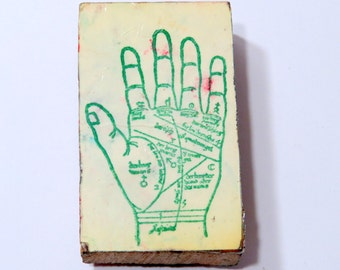 Palmistry Rubber Stamp, Used Vintage Hand Stamp, Ancient Wisdom, Metaphysical, Fortune Telling