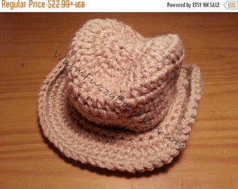 SALE 20% OFF Baby Cowboy Fedora Hat - Crochet Newborn Beanie Boy Girl Costume Winter  Photo Prop Cap Christmas Outfit