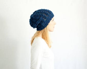 SPRING SALE the SUMTER hat - Slouchy hat beanie crocheted - navy - wool