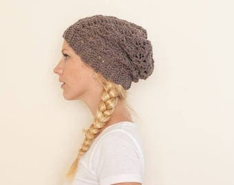 SPRING SALE Slouchy hat beanie crocheted - heather brown - wool