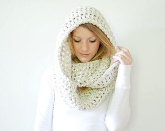 SPRING SALE the DAKOTA infinity - Extra Chunky Cowl Scarf Hood Loop Infinity scarf - wheat - wool blend